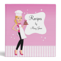 Beautiful Illustrated Blonde Girl Recipe Binder