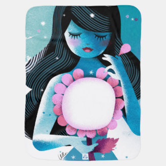 Beautiful illustration of a Girl and summer Flower Baby Blanket