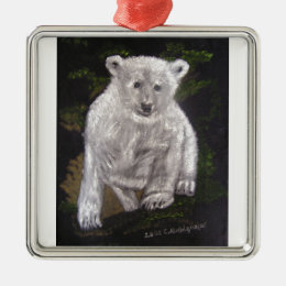 Beautiful illustration of a polar bear boy metal ornament