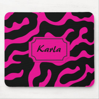 Beautiful in Black and White Pink and Black Tag Mousepads