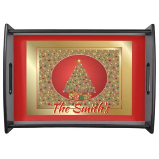 Beautiful Initialized Christmas Tree And Gifts Serving Tray