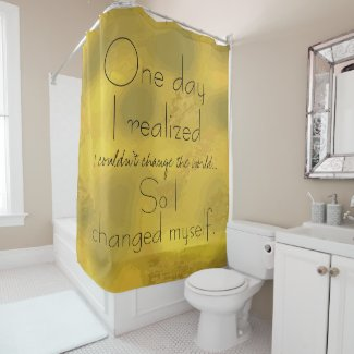 Beautiful Inspirational Quote Print Gold Shower Curtain