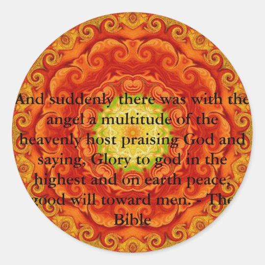 Beautiful Inspiring Biblical Angel  Quote Classic Round Sticker