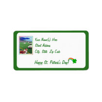 Beautiful Ireland Coast Collie & Flock of Sheep Label