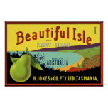 Beautiful Isle Australian Pear Crate Label Poster