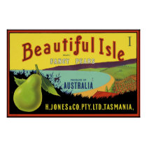 Beautiful Isle Australian Pear Crate Label Poster