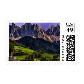 Beautiful isolated lonely church St Maddalena Postage Stamps