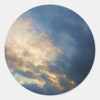 Beautiful Italian Sunset Sky with clouds Classic Round Sticker