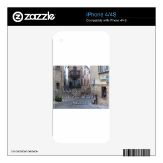 Beautiful Italian Village Street with Scripture Skins For iPhone 4