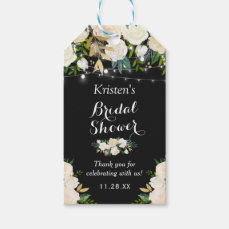 Beautiful Ivory White Floral Bridal Shower Favor Gift Tags