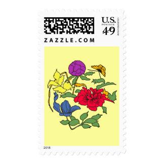 Beautiful Japanese Flower Art Postage Stamp