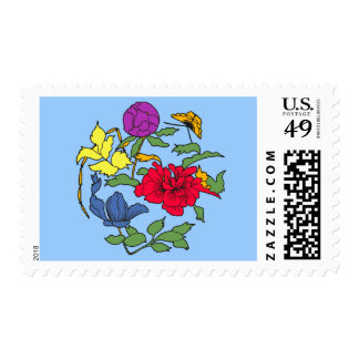 Beautiful Japanese Flower Art Postage Stamps
