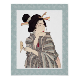 Beautiful Japanese Geisha Art Poster Design