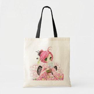 Beautiful Japanese girl in Kimono Budget Tote Bag