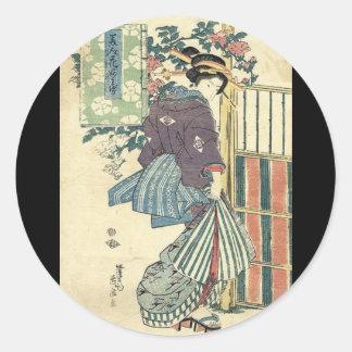 Beautiful Japanese Woman Classic Round Sticker