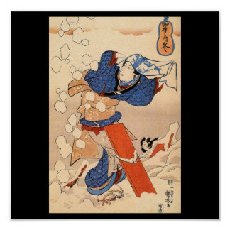 Beautiful Japanese Woman in the Snow c. 1800's Poster