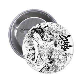 beautiful japanese woman vector design 2 inch round button
