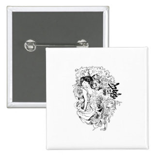 beautiful japanese woman vector design 2 inch square button