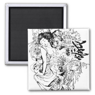 beautiful japanese woman vector design 2 inch square magnet