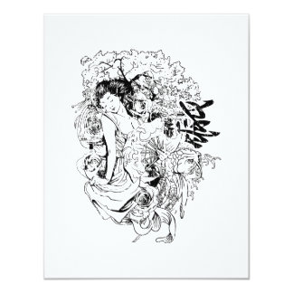 beautiful japanese woman vector design 4.25x5.5 paper invitation card