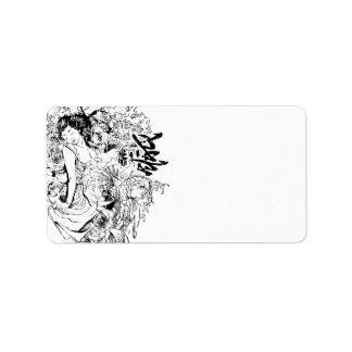 beautiful japanese woman vector design address label