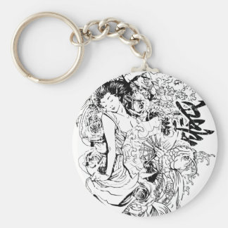 beautiful japanese woman vector design basic round button keychain