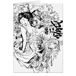 beautiful japanese woman vector design card