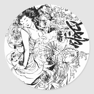 beautiful japanese woman vector design classic round sticker
