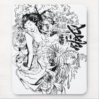 beautiful japanese woman vector design mouse pad