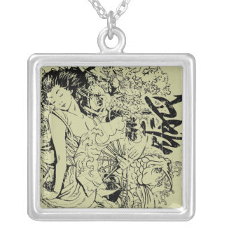 beautiful japanese woman vector design square pendant necklace