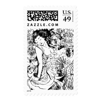 beautiful japanese woman vector design stamps