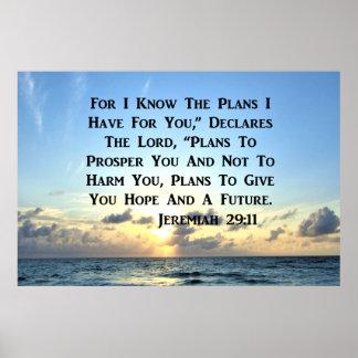 BEAUTIFUL JEREMIAH 29:11 SCRIPTURE VERSE POSTER
