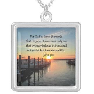 BEAUTIFUL JOHN 3:16 SUNSET PHOTO DESIGN SQUARE PENDANT NECKLACE