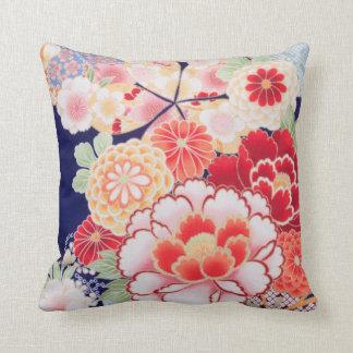 Beautiful Kimono Fine Floral Vintage Japanese Throw Pillow
