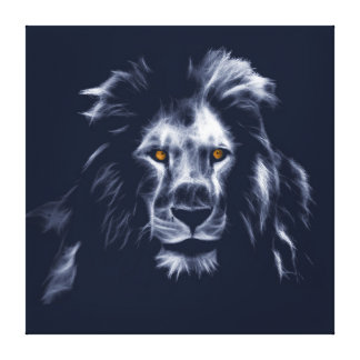 Beautiful King Lion Cool Graphic Blue Colors Canvas Print
