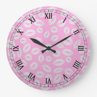 beautiful kiss lips love on pink backgraund large clock