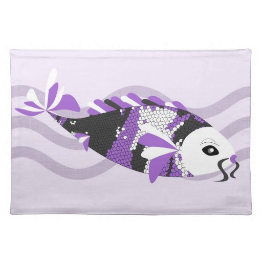 Beautiful koi fish in purple with a white face place mats for Purple koi fish