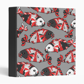 Beautiful Koi Fish Print Traditional Colors 3 Ring Binder