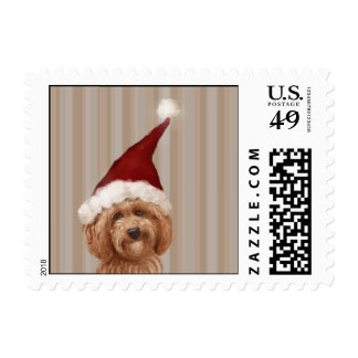Beautiful Labradoodle Dog Painting Postage