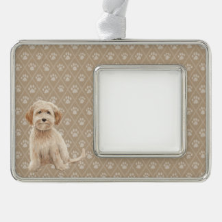 Beautiful Labradoodle Dog puppy Paintings Silver Plated Framed Ornament