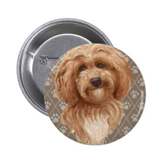 Beautiful Labradoodle Love Dog Paw Painting Print Button