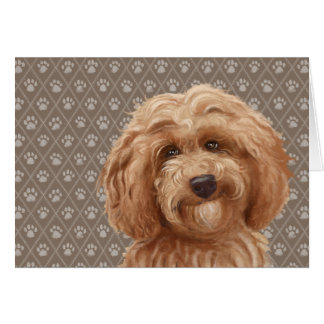 Beautiful Labradoodle Love Dog Paw Painting Print Card