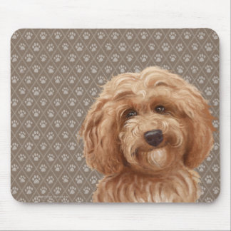Beautiful Labradoodle Love Dog Paw Painting Print Mouse Pad
