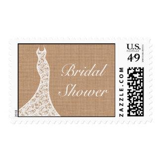 Beautiful Lace & Burlap Bridal Shower Stamp