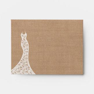 Beautiful Lace & Burlap Thank You Card Envelope