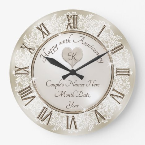 Beautiful Lace Gifts for 13th Wedding Anniversary Large Clock