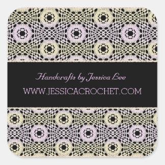 Beautiful Lace Lacy Chrochet Knit Pattern Square Sticker