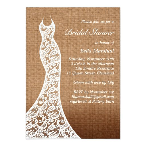 Beautiful Lace & Ombre Burlap Bridal Shower Invite