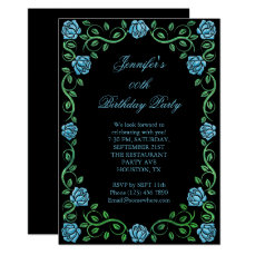 Beautiful Lacy Aqua Rose Framed Birthday Party Card