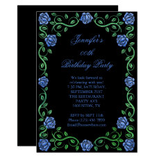 Beautiful Lacy Blue Rose Framed Birthday Party Card